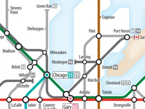 Interstates as Subway Diagram